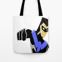 nightwing Tote Bags featuring Nightwing by Queenmissy