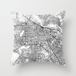 Amsterdam White Map Throw Pillow