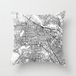 Amsterdam White Map Throw Pillow