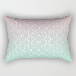 Moroccan pattern with mint, pink and gold Rectangular Pillow