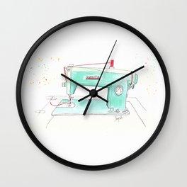 Vintage White 43-8 Sewing Machine in Aqua Wall Clock