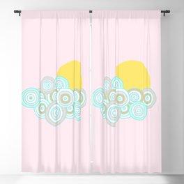 Retro Little Rainbow Cloud on pink Blackout Curtain