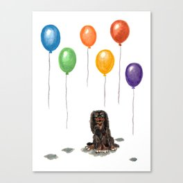 Toy Spaniel with balloons Canvas Print