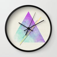 triangle Wall Clocks featuring Triangle  by Allyson Johnson