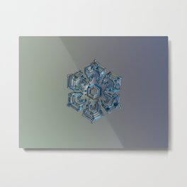 Real snowflake macro photo - Silver foil Metal Print