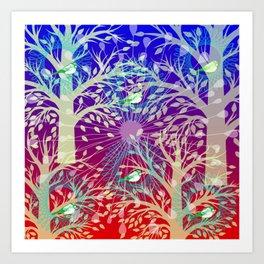 Nesting Birds Blue Art Print