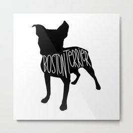 Boston Terrier Silhouette Metal Print
