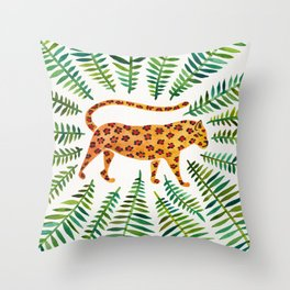Jaguar – Green Leaves Throw Pillow