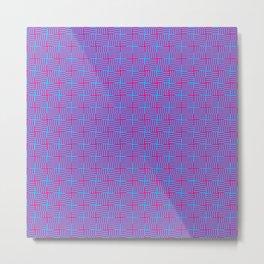 Geometrical abstract pink teal stripes squares pattern Metal Print