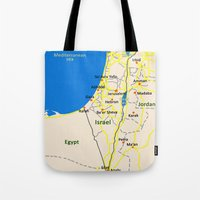 israel Tote Bags featuring Israel Map design by Efratul