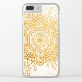 Queen Starring of Mandala-Gold Sunflower I Clear iPhone Case