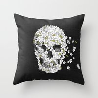 death Throw Pillows featuring A Beautiful Death - mono by Terry Fan