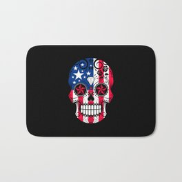 Sugar Skull with Roses and Flag of The United States Bath Mat