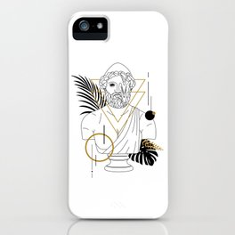 Hephaestus (Vulcanus). Creative Illustration In Geometric And Line Art Style iPhone Case