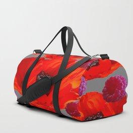 SUCCULENT PURPLE RASPBERRIES & ORANGE POPPIES ABSTRACT Duffle Bag