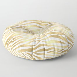 Glam Gold and White Zebra Print Pattern Floor Pillow