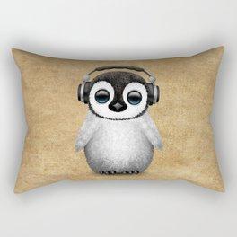 Cute Baby Penguin Dj Wearing Headphones Rectangular Pillow