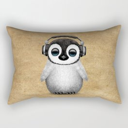 Cute Baby Penguin Dj Wearing Headphones Rectangular Pillow