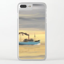 Steamship Freighter heading towards the ocean Clear iPhone Case