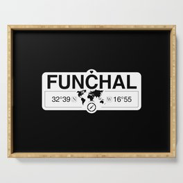 Funchal Madeira with World Map GPS Coordinates and Compass Serving Tray
