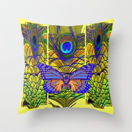 FANTASY PURPLE MONARCH BUTTERFLY PEACOCK FEATHER Throw Pillow