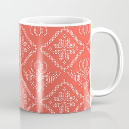 Christmas Tree Embroidery Stitches Seamless Vector. Hand Drawn Cross Stitch Coffee Mug