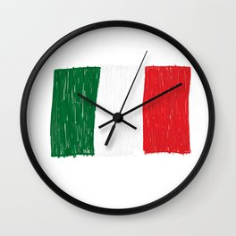 Italy flag made of doodle Wall Clock