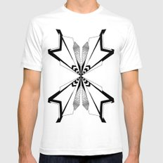 Lines White Mens Fitted Tee SMALL