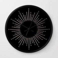 Sunburst Moon Dust Bronze on Black Wall Clock
