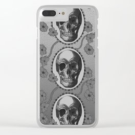 Skulls and Poppies - Antique Vintage Floral Skeleton Pattern Clear iPhone Case