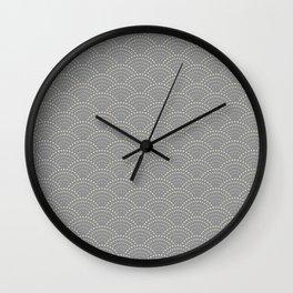 Japanese Wave Seigaiha Super Moon Grey Pattern Wall Clock