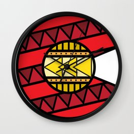 Colorado Tribal Flag: Red and Yellow Wall Clock