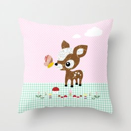 Cute deery with mushrooms and butterfly Throw Pillow