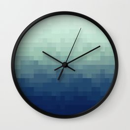 Gradient Pixel Aqua Wall Clock
