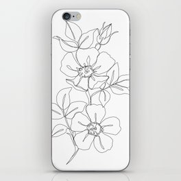 Floral one line drawing - Rose iPhone Skin