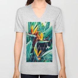 Modern white geometric triangle tropical bird of paradise photography Unisex V-Neck