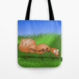 Ant smiling in tall green grass Tote Bag