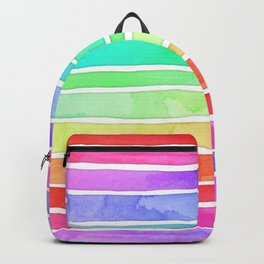 Bright Rainbow Colored Watercolor Paint Stripes Backpack