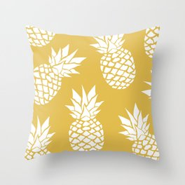 Summer, Tropical, Pineapples, Yellow Throw Pillow