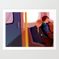 johnlock Art Prints featuring Johnlock on the tube after a case by Sama Ma