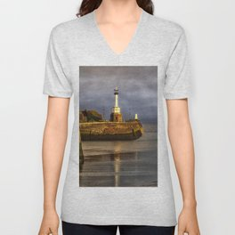 Early Morning At Maryport Harbour Unisex V-Neck