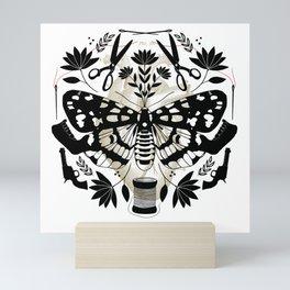 Sew Over It White background / Moth, Needle, Tread, Scissors, Bone, Gun, folk art flowers Mini Art Print