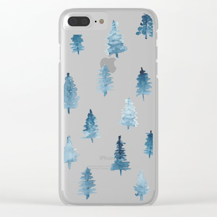 Watercolor Trees Clear iPhone Case