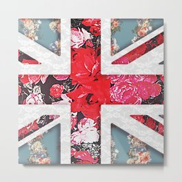 God save the Queen | Elegant girly red floral & lace Union Jack Metal Print