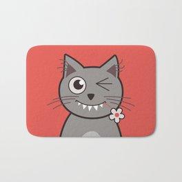 Winking Cartoon Kitty Cat Bath Mat