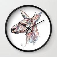 kangaroo Wall Clocks featuring Kangaroo by Ursula Rodgers