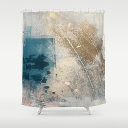 Embrace: a minimal, abstract mixed-media piece in blues and gold with a hint of pink Shower Curtain