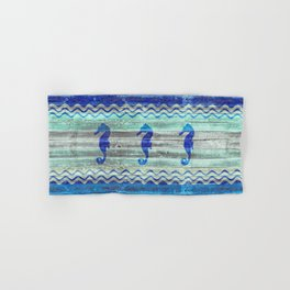 Rustic Navy Blue Coastal Decor Seahorses Hand & Bath Towel