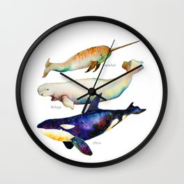 Best Buddies - Narwhal, Beluga & Orca Killer Whales Wall Clock