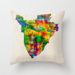 Burundi Map in Watercolor Throw Pillow